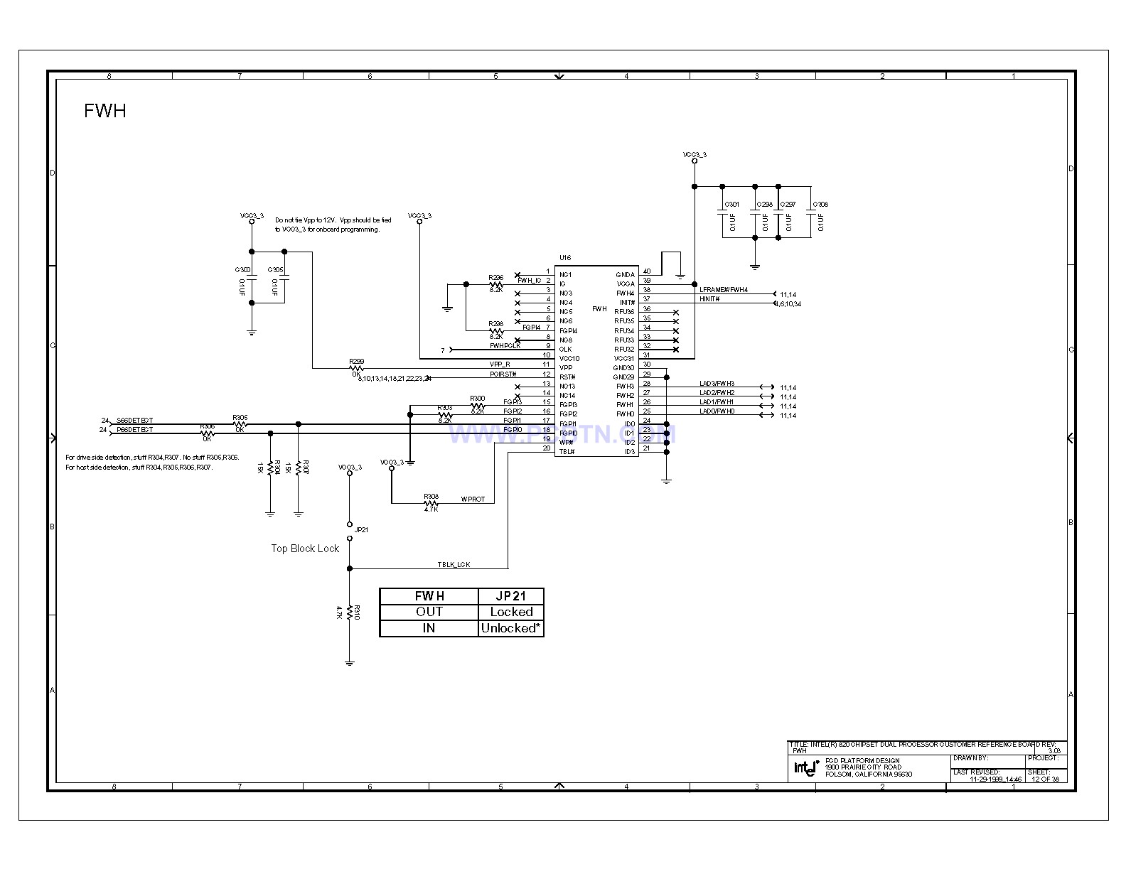 Intel 820e主板FWH电路图