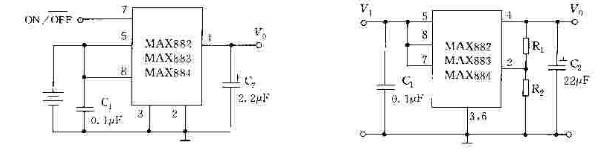 MAX882883884是一双功能(固定输出与可调输出)、低压差、低功耗的线性集成稳压器。MAX882884固定输出为3.3V,电压精度为3.30V0.15V。MAX883固定输出为5V,电压精度为5.00VO.25V;它们都可以根据用户需要,通过外接电阻使输出电压范围在1.25一llV之间可调,输入电压范围为2.