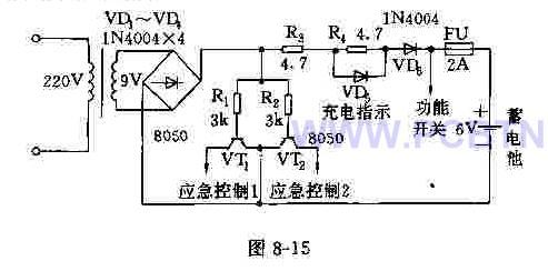 【图】简易应急灯电路电源电路;