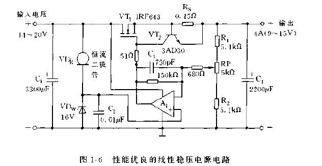 恒流 稳压二极管及功率MOS管构成的稳压电源电路图片