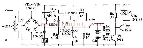 【图】由lm7805构成的全自动电池充电器电源电路 电路