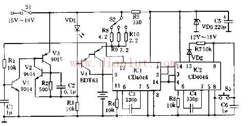 采用cd4046的电池快速充电器电路
