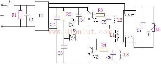 """荧光灯电子镇流器中的功率因数,灯电流波峰系数,电流谐波含量统称三项技术指标。在一般荧光灯电子镇流器中想实现三项指标的同时达到部颁标准是有困难的,采用HD9712模块的电子镇流器就可以实现该三项指标,并能达到标准中的""""H""""级所规定的指标要求。接通电源,电流经F1、C1输入HD9712电路的""""1、2""""脚。经HD9712电路整流,电流跟踪及分级滤波后从""""3""""脚输出300V左右的直流电压,作为镇流器的工作电源;该电压经R2降压后加到C3和D2锯齿波产生器上。通过C3、D2产生一个锯齿波脉冲去触发"""