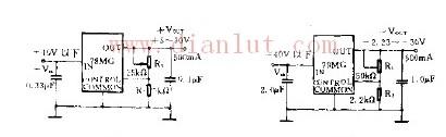 四端可调稳压器电路原理图