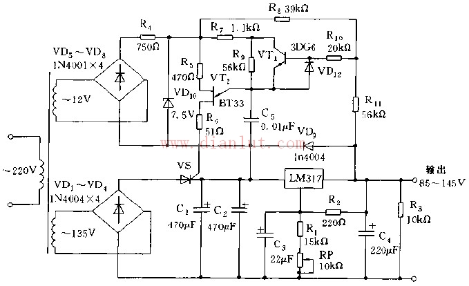 本电路由变压器将工频交流电分别转换为12V和135V,再由整流二极管进行整流。12V电压供给上半部电路产生脉冲对晶体管VS触发,使下半部电路滤波后的电压稳定不变,再由LM317稳压管稳压,调节RP的电阻,可以改变输出电压的大小,实现可调稳压电源。