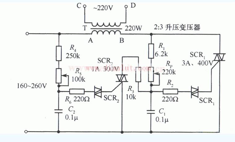 可控硅 双向 交流稳压器/如图是一个由双向可控硅组成的交流稳压器电路。