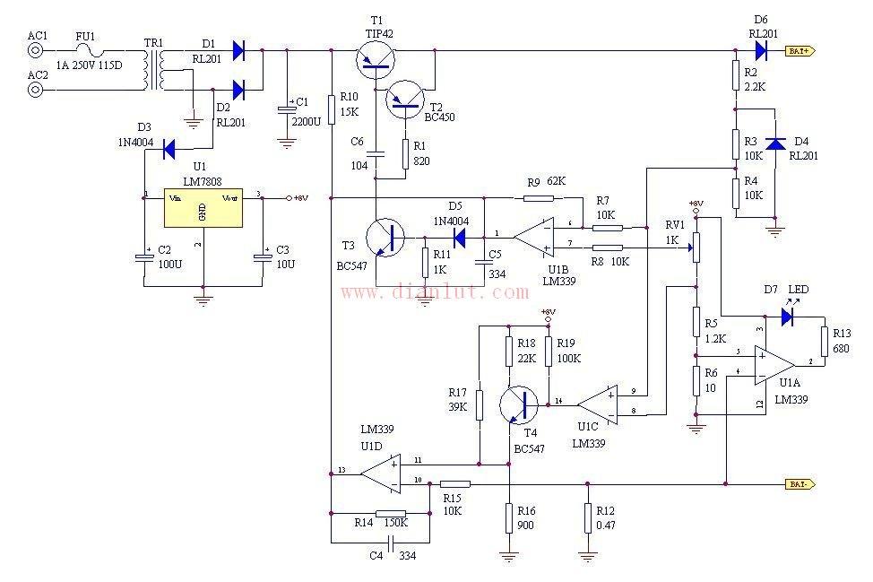 lm339设计的自动蓄电池充电电路图及说明