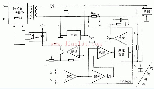 基于UC3907与外部电路连接的电路原理图