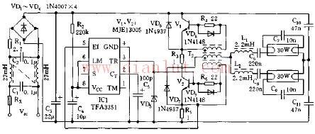 由TFA3351构成的电子镇流器电路