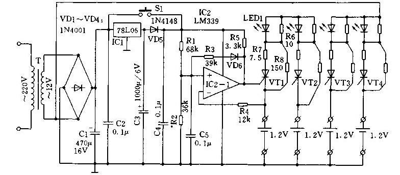 带人工触发功能的自动充电器的电路图