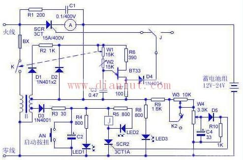 10A蓄电池自动充电器的电路图