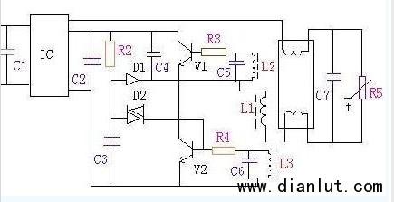 电子镇流器式莹光灯原理的电路图