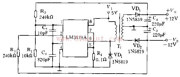 lma3578a用做rs232线路电压驱动器电源电路图