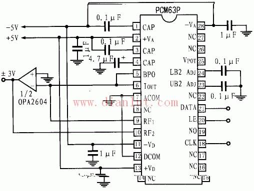 【图】电压输出模式的pcm63p应用电路原理图其它电路