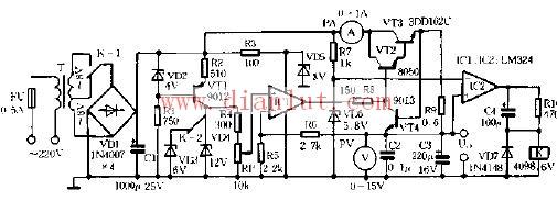 324设计0 12V可调直流稳压电源电路图片