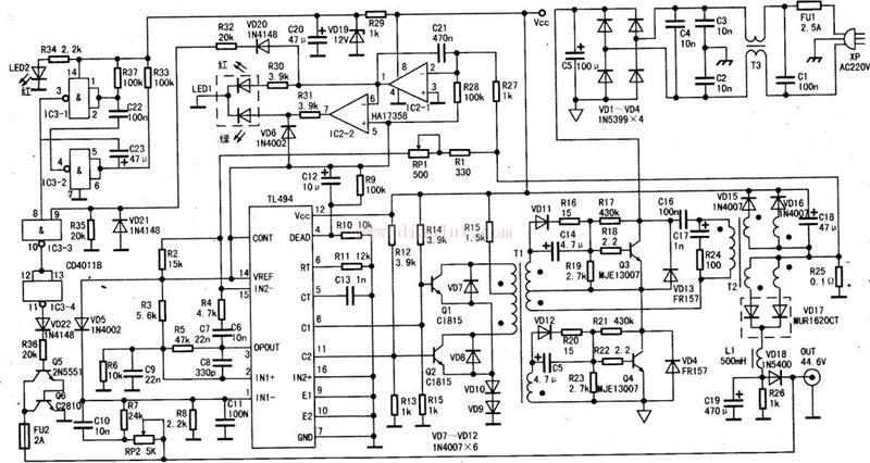 剃须刀充电电路_UCC28221组成的200W通信用DC/DC电路图-电源电路-维库电子市场网
