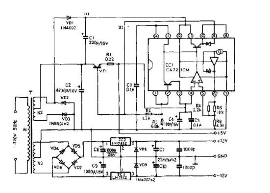 如图所示,电路中变压器T的次级N3的中心抽头与二极管VD2、VD3的正极和电容C2、C6、C7的负极及电容C9、C10的正极等元件的公共点相连并接地,其地电位为零。+5V稳压电源采用了一只性能优良的集成块CA723,作为自动调整输出电压。由二极管VD1整流、电容C1滤波,U1获取的正直流电压提供给CA723的11脚,CA723的6脚为一恒定电压,经电阻R4、R5和R6分压,是5脚能获取到基准电压。若+5V输出端电压升高时,CA723的4脚电位升高,经CA723中的比较器进行比较后,该比较信号送入误差放