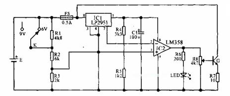 g接成射极跟随器方式,调节r8使r7两端电压为1v,g就成为100ma的恒流源