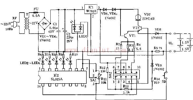 简易智能充电器电路图