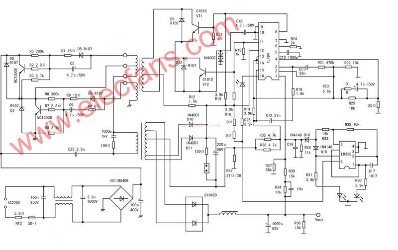 基于TL494的电动车充电器电路电源电路 电路图 捷配电子市场网图片