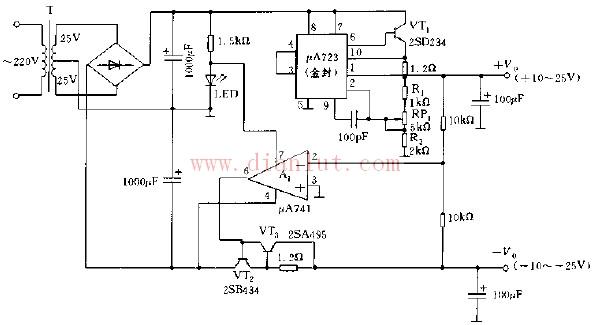 采用A723构成的带保护的跟踪可调稳压电源电路图   广鹏科技的A723系列是由一内建高压开关的升压驱动器核心以及多信道恒流源组成,并以电压回授机制促使驱动IC随时工作在最佳效率模式,不但能弥补LED顺向电压(VF)的差异,更能因应LED顺向电压跟随温度之改变、实时调整输出电压,使驱动IC工作维持在高效率。由使用者以外部电阻设定电流大小的多信道恒流源设计,能使各个LED串之间的电流一致,消除LED串之间的亮度差异,是一个能提供亮度极为均匀的背光源解决方案。该系列IC可使用脉冲波宽调变(PWM)的方式进
