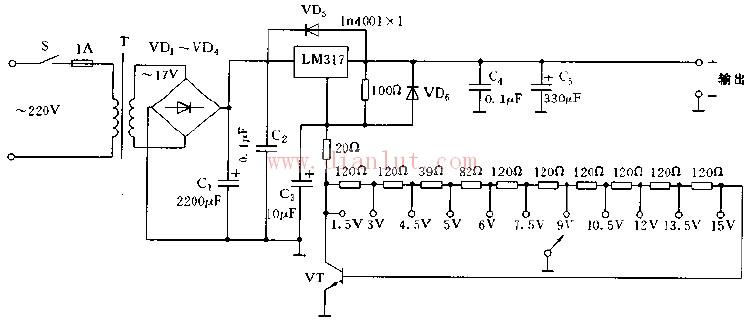 如图为基于LM317的稳压电源电路图。电路采用两个LM317稳压器,以限定LM317的输入输出电压差。调节R,改变LM317(2)的输出电压,即LM317(2)的输入电压也随之改变。   它具有较高电压稳定度、输出电流1.5A,输出电压从1.5V到15V共分为10挡,步进电压为1.5V、专设5V电压输出档,以适应数字电路及特蛛器件的需要。 来源: