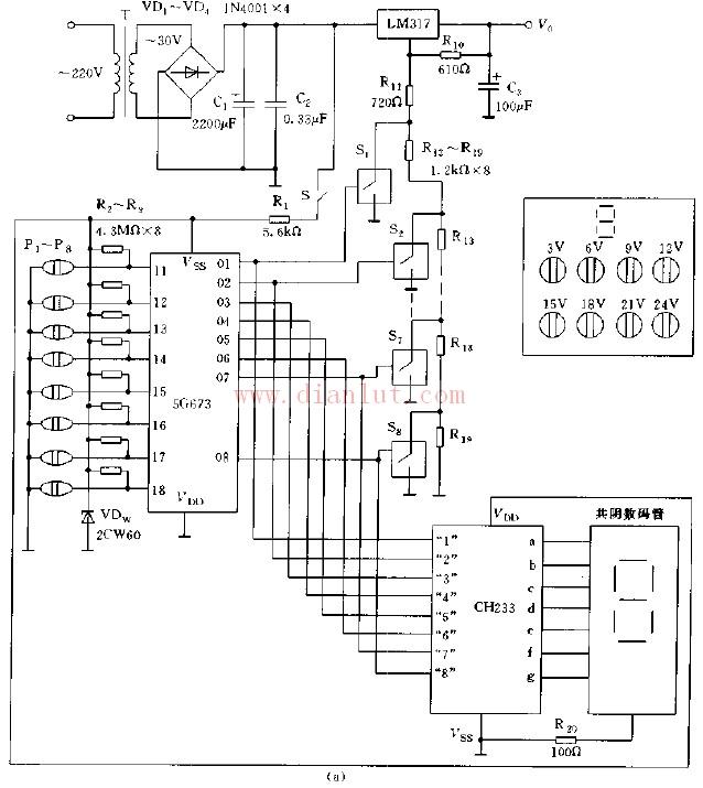 数控显示稳压电源电路图及其工作原理