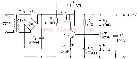 简易双晶体管串联式实用线性稳压电源电路