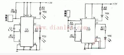 【图】基于4047的单稳态脉冲触发开关电路电源电路 图