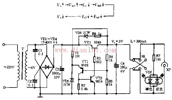 基于1N4001芯片制作带发光管稳压器电路