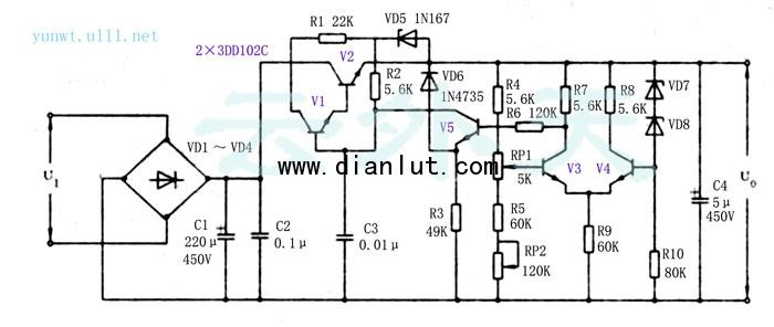 在实际生产应用中,在许多场合都要求有长期稳定的高压直流电源,并且有时希望输出电压是可凋的。-般的稳压电路很难达到这样的要求,即使做到,其输出的动态范围也不高。笔者在一次设计中,将一般稳压电路中引入一差分电路作稳压电源的取样比较电路。并对电路的参数作了适当的调整,使得整个电源的输出动态范围大大改善,其值可达100V左右。做好的样机经使用后表明,效果甚佳。其指标为:   输入交流150V~250V,输出直流150V一250V上各个值均可稳定,且稳定度很高。   该电源具有受环境温度的影响小,功耗低的特点,