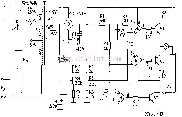 【图】采用伺服式控制电路的交流稳压器电路图电源