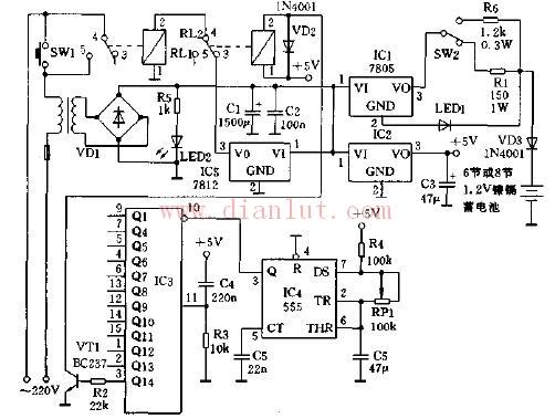 使用电池自动充电器电路图