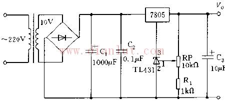 利用tl431与7805构成可调稳压电源电路