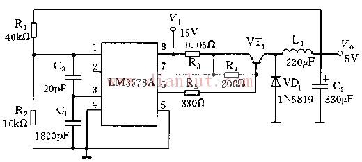基于LM3578A的扩流降压稳压器电路图