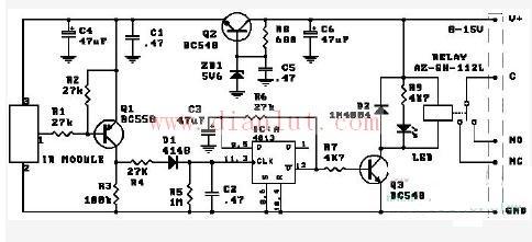 由CD4013构成的简易实用红外线遥控开关电路