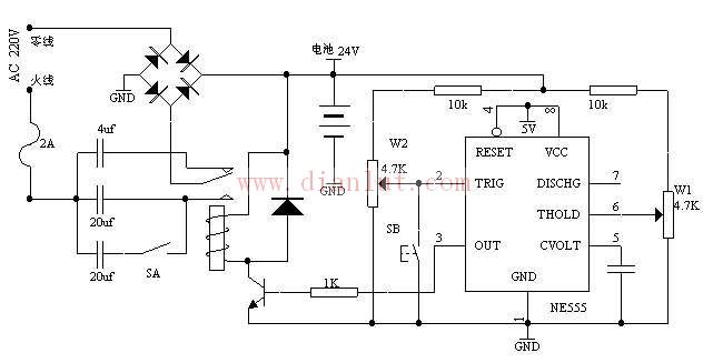 【图】带限流降压功能的蓄电池充电器电源电路