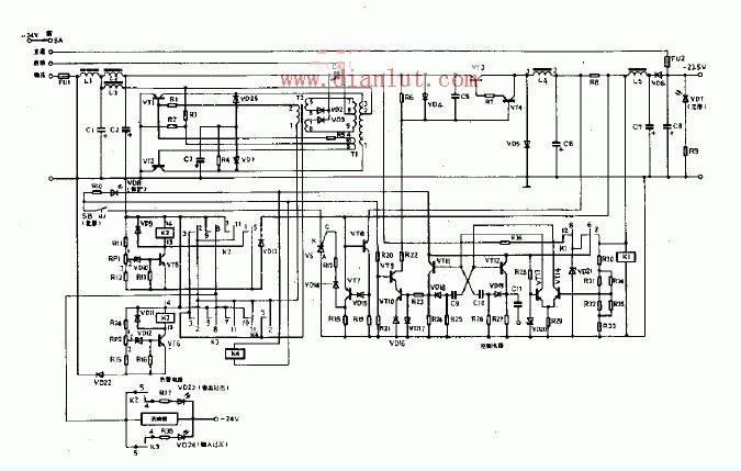 采用自激换流器的-24V稳压电源电路