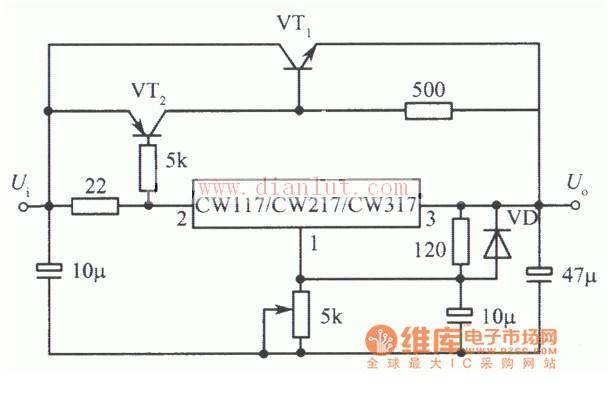 体管扩流的集成稳压电源电路介绍电源电路 电路图 捷配电子市场网图片