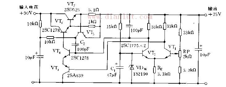 简易化标准互补差动放大器的稳压电源电路图