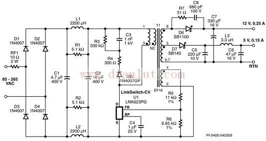 双路输出电源电路图