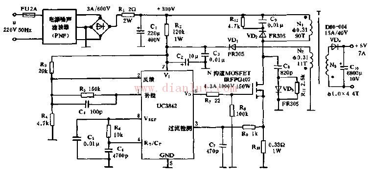 UC3842典型应用电路及芯片说明