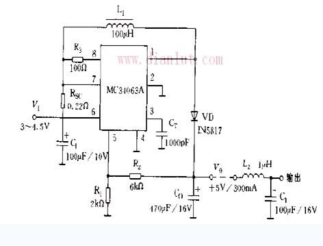 基于MC34063的5V开关稳压电源电路图