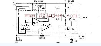 开关稳压器构成的升压电路图