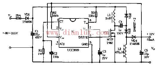 基于ucc3889的低功耗高压差稳压电源电路