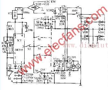 由555电路构成的电火花切割用脉冲电源电路图