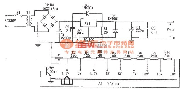 【图】由lm317构成的分挡可调直流稳压电源电路