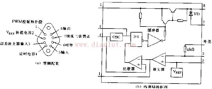 HS7076管脚配置和内部结构电示意图