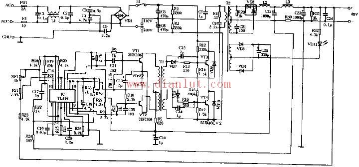 基于tl494芯片设计48v 3a开关电源电路电源电路 电路图