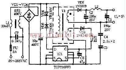 5v5w开关电源电路图